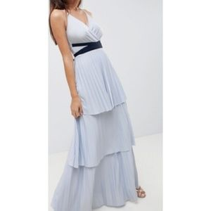 new asos design tiered pleated maxi dress us 8